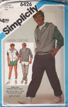 Simplicity 6426 1980s Henry Grethel Mens Pull on Pants Shorts  Hoodie Jacket and Vest vintage sewing pattern by mbchills