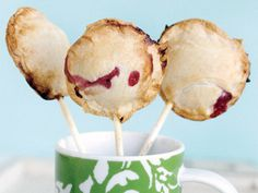 Mini Pie Pops. Must try, perhaps with pecan or chocolate pecan filling instead...