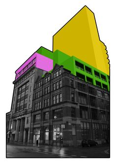 Color-Block Building Photographs by Mauren Brodbeck- wall Photography Editing, Urban Photography, Abstract Photography, Artistic Photography, Landscape Photography, Creative Landscape, Urban Landscape, Photomontage, Cover Design