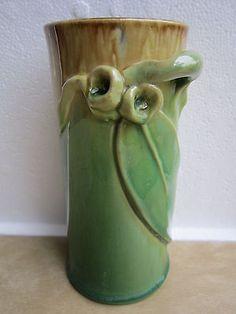 REMUED 1930s Australian Pottery Gumleaf Gumnut Cylinder Vase - Shape 145/6M