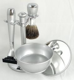 Shaving Gift Set with Badger Brush, Stand, Soap Bowl, Bowl Cover and Mirror and Mach 3 Razor Handle. Silver Plated, Great Fathers Day or Christmas Gift. by Lily's Home, http://www.amazon.com/dp/B0050K75OE/ref=cm_sw_r_pi_dp_uCX9rb0BBR8Z8