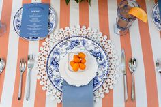 Our Persimmon Drayton Stripe Table Linen brings fun hues to this event. Designer: Madcap Cottage Photography: Theo Milo Photography Floral: Out Of The Garden Rentals: Ohh! Events