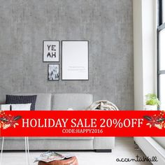 Holiday Sale Cement Concrete Peel & Stick Fabric by AccentuWall