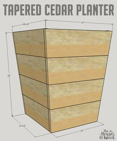Learn how to build a DIY modern tapered planter using inexpensive cedar fence pickets Free design plans and stepbystep tutorial by Jen Woodhouse Diy Wooden Planters, Outdoor Planter Boxes, Cedar Planter Box, Wood Planter Box, Wooden Diy, Cedar Fence Pickets, Wooden Fence, Gabion Fence, Brick Fence