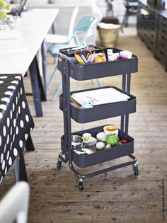 IKEA trolley as art supply central.. these are so wonderful!
