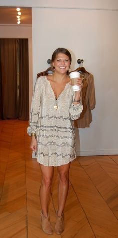 long sleeve dress and short boots. and coffee too. that doesn't hurt.