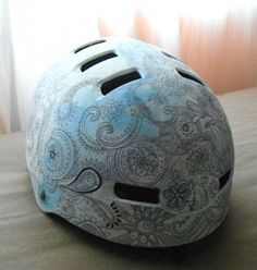 patchwork cycle helmet. Paint + ink.   I've always wanted to!