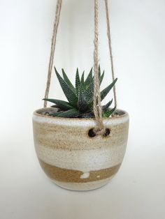 Rustic white toffee Small Hanging Planter  Hanging by viCeramics