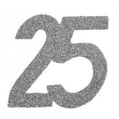 Confettis anniversaire 25 ans argent pailleté les 6