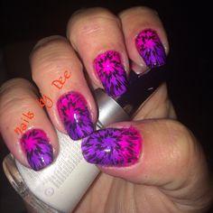 purple/pink fireworks nails