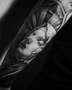 Mother Mary portrait Ink Instagram, Grey Scale, Black Ink Tattoos, Mother Mary, Black And Grey, Photo And Video, Portrait, Virgin Mary, Portrait Illustration