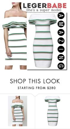 """""""L-B Off-the-shoulder striped stretch cotton-blend mini dress"""" by aida-ida ❤ liked on Polyvore featuring beauty"""