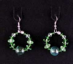 Green Glass Beaded Earring Set  Item Number by PirateKatsBooty