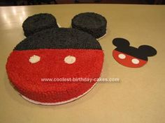 Homemade Mickey Mouse Clubhouse Cake: I took inspiration for the Mickey Mouse Clubhouse Cake from our invitation which were homemade by mixing a couple of different ideas from other invitations