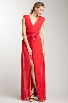 Vera Wang Cap Sleeve Waist Tie Gown on HauteLook