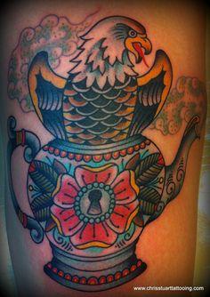 Eagle / ornate teapot / flower / keyhole tattoo by Chris Stuart www.chrisstuarttattooing.com www.facebook.com/chrisstuarttattooing Instagram: @chrisxempire Chrisstuarttattooing@gmail.com Ace Tattoos, Charlotte,NC