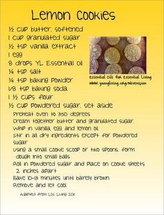 Young Living Essential Oils: Lemon Cookie Recipes www.facebook.com/essentialriffic. Click on the photo to visit my website :)