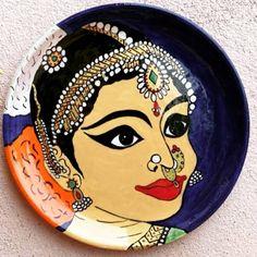 Kerala Mural Painting, Diy Wall Painting, Wall Art, Plate Wall Decor, Plates On Wall, Diy Clay, Clay Crafts, Pichwai Paintings, Madhubani Art