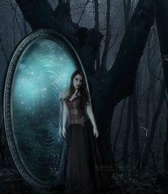 magic mirror by Creamydigital Magic Mirror, Mirror Art, Mirror Image, Dark Fantasy Art, Dark Art, Lynda Barry, Portal, Steampunk, Gothic Culture