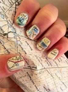 Map For Your Fingernails: 1. Paint your nails white/cream 2. Soak nails in alcohol for five minutes 3. Press nails to map and hold 4. Paint with clear immediately after it dries. Try it with a poetry book, too!