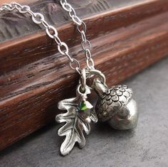 Silver Acorn Necklace,  Acorn Pendant, Acorn Jewelry, Birthstone Jewelry, Sterling silver chain on Etsy, $34.00