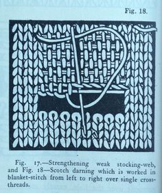 Scotch darning. Uses rows of interconnected blanket stitch over a long weaving style thread. Knitting Socks, Knitting Help, Knitting Stitches, Embroidery Stitches, Sewing Hacks, Sewing Crafts, Knitting Projects, Scotch, Boro