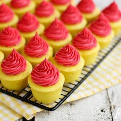 Lemon Baby Cakes With Fresh Raspberry Buttercream.  Looks and sounds delish!