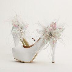 Women's Satin Stiletto Heel Platform Pumps With Flower