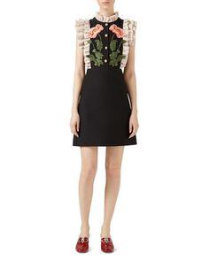 Gardenia Cady Crepe Dress, Black/White by Gucci at Bergdorf Goodman.