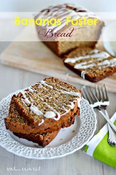 Bananas Foster Bread - first, cook your mashed bananas in butter, brown sugar and rum, and then drizzle with a slightly boozy glaze!  #Kitchen Meets Girl #bread #bananas