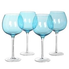 0d3524836ca Set of 4 Large Sea Blue Gin Glasses – Mulberry Moon Blue Gin, Gin Glasses