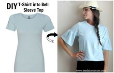 In this tutorial I& showing you how to update a basic t-shirt into this trendy bell sleeve top. This versatile look can be worn dressy or casual. For this look I used ShirtSpace tee in ice blue. Zerschnittene Shirts, Cut Up Shirts, Tie Dye Shirts, Trash To Couture, Backless Shirt, Shirt Makeover, Diy Lace Up Tee, Diy Clothes Refashion, Diy Clothing