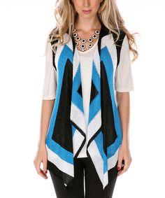 Love this Black & Turquoise Sleeveless Open Cardigan by Lily on #zulily! #zulilyfinds