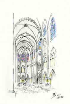 The nave of Notre Dame Cathedral designed by Viollet le Duc @ Paris, France, 20120511 / Sketch by Youngdong Jang