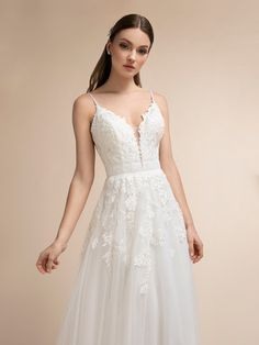 Full A-line Mikado and Net with Square Neckline and Bateau Back Moonlight Wedding Dress Style Simply Wedding Dress, Boho Wedding Dress, Wedding Dress Styles, Beaded Wedding Gowns, Wedding Dresses With Straps, Bridal Gowns, Boho Bride, Bridal Headpieces, Embroidered Lace