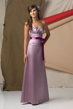 Satin Draped Bodice Floor-Length A-line Bridesmaid Dress