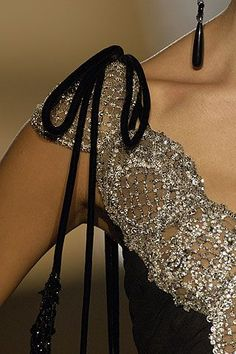 (Valentino Haute Couture) bejeweled gown detail
