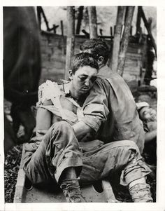 WWII Wounded U.S Soldier Aided by Comrade after Battle in Burma Orig Press Photo