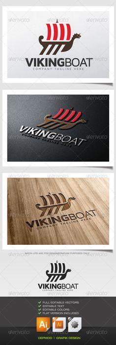 Viking Boat  - Logo Design Template Vector #logotype Download it here: http://graphicriver.net/item/viking-boat-logo/5467543?s_rank=350?ref=nexion