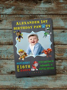 Personalized Paw Patrol Invitation Chalkboard By TDADesign Loretta Russell Rys First Birthday Ideas