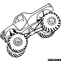 Free Monster Truck Coloring Pages Color In This Picture Of A Gigantic And Others With Our Library Online