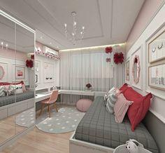 """815 curtidas, 13 comentários - Interiores e Decor (@interior.inspira) no Instagram: """"Inspiração linda de quarto de menina  Amei a paleta contando com rosa, vermelho, cinza e branco …"""""""