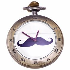 Bronze Back Case Purple Mustache Beard Roman Analog Round Pendant Fob Long Chain Gift Quartz Pocket Watch Jewelry Gift / WPK136