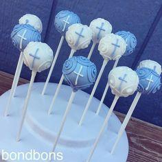 beautiful cake pops for boy's Catholic baptism