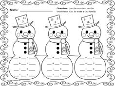 Winter Math Fun Freebie Printable Math Practice Pages for Winter! Math Classroom, Kindergarten Math, Teaching Math, Maths, Classroom Ideas, Fact Family Worksheet, Christmas Math Worksheets, First Grade Math Worksheets, Second Grade Math