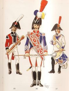 Spanish; Line Infantry 1808. L to R, Regt Zamora, Musician, Regt Zamora, Drum-Major & Regt.Malaga, Fusilier Drummer.