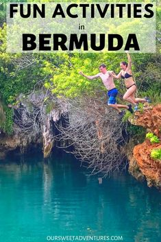 There are so many fun activities in Bermuda. Our favorite were cliff jumping at Blue Hole Park, discovering underground caves, driving a scooter, snorkeling and more. Bermuda Vacations, Bermuda Travel, Brazil Travel, Travel Guides, Travel Tips, Travel Advice, Koh Tao, Beach Trip, Beach Travel