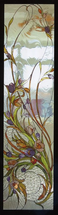 Stained-Glass: #Stained-glass panel. by Hélène Thibault Stained Glass Flowers, Stained Glass Designs, Stained Glass Panels, Stained Glass Projects, Stained Glass Patterns, Stained Glass Art, Leaded Glass, Beveled Glass, Mosaic Art