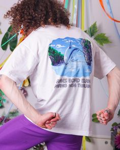 90s vintage t-shirt dolphin retro thailand tee white vintage | Etsy