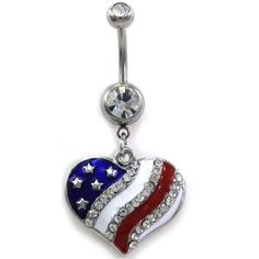 USA American Flag Heart Patriotic 4th of July Independence Day Dangle Banana Belly Barbell Button Navel Rings